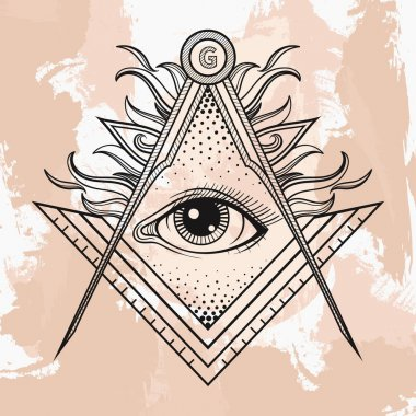 Masonic square and compass symbol with All seeing eye , Freemaso