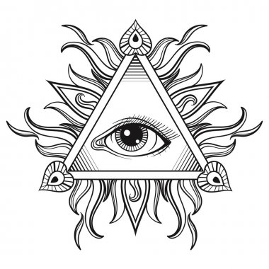 Vector All seeing eye pyramid symbol in tattoo engraving design.