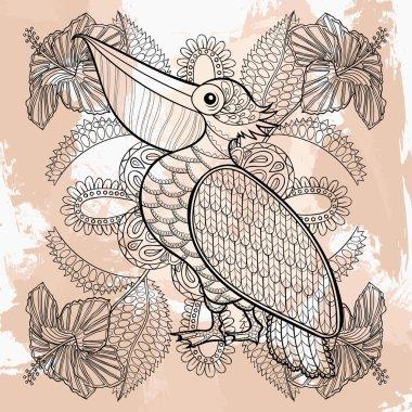 Zentangle vector Pelican in hibiskus flowers, tattoo design. Orn