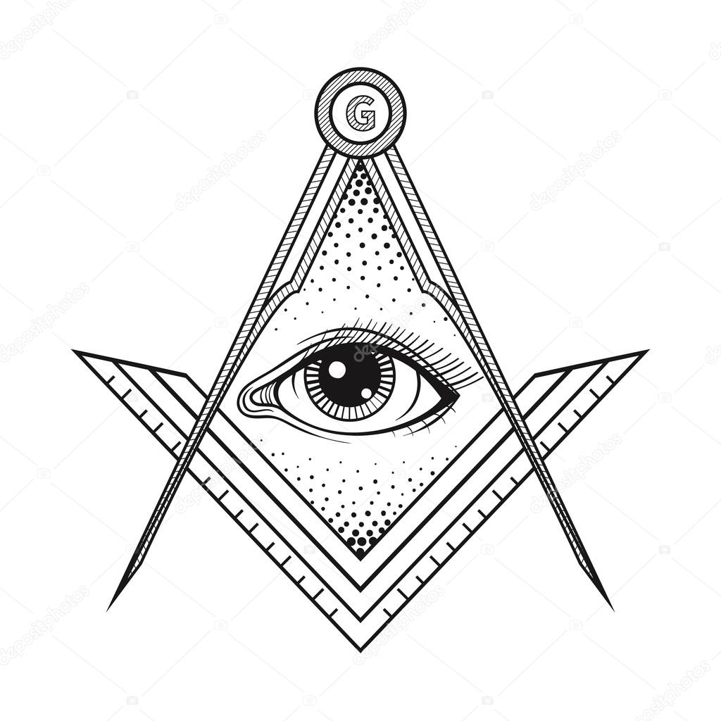 Masonic Square And Compass Symbol With All Seeing Eye Freemaso