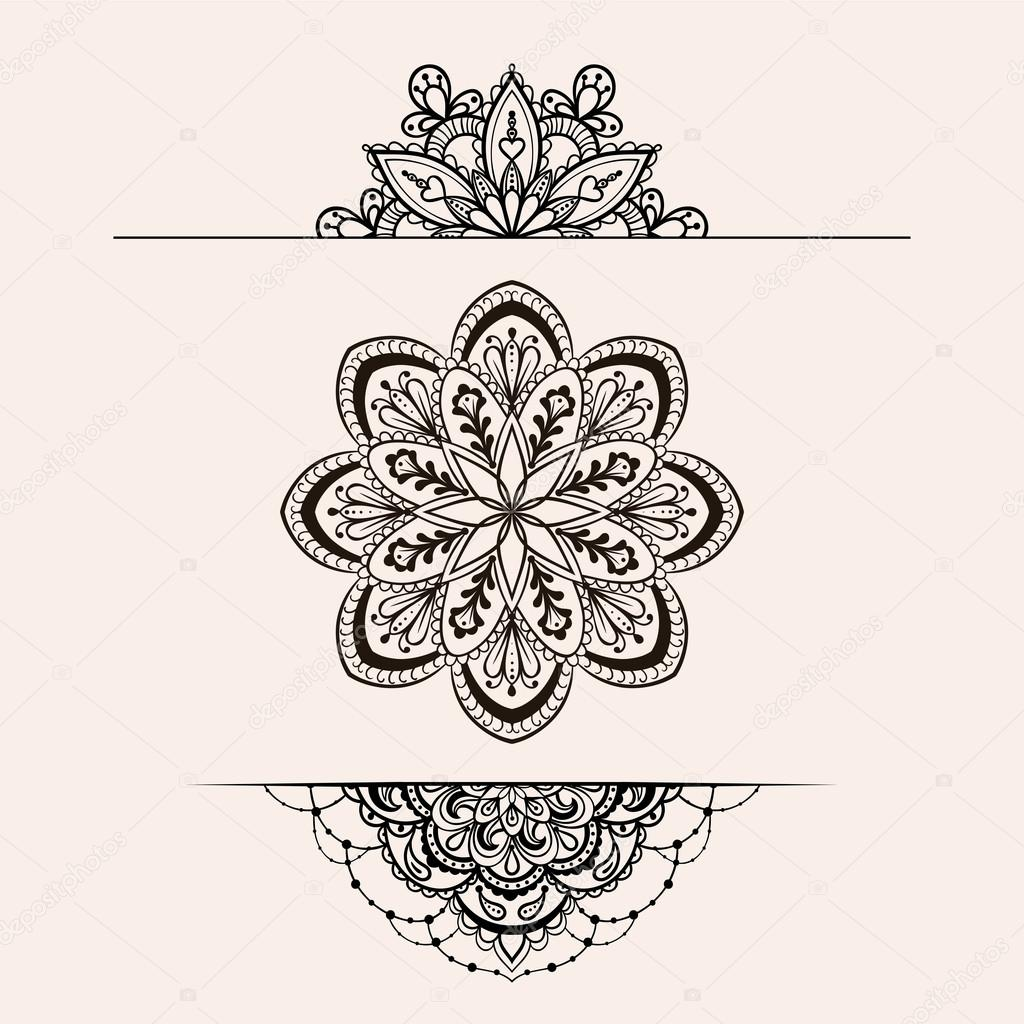 Vector Henna Ethnic Mandala Set Boho Femine Lace Tattoo Design