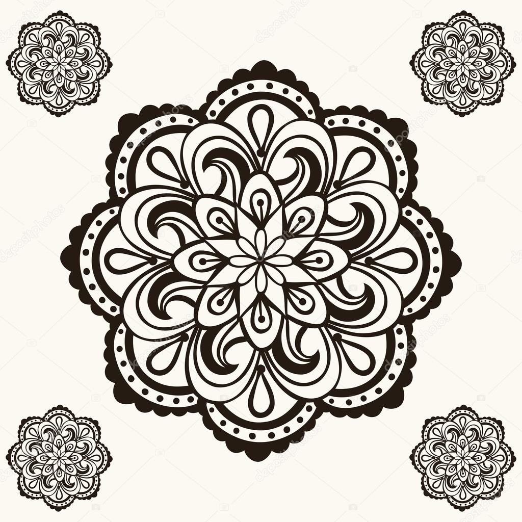 Vector Henna Mandalas Boho Tattoo Design In Doodle Style Ornam