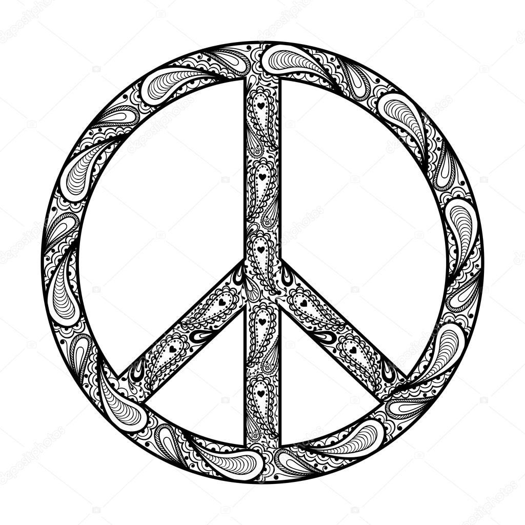 Peace Sign Zentangle Black Symbol Tattoo Design In Hippie Dood