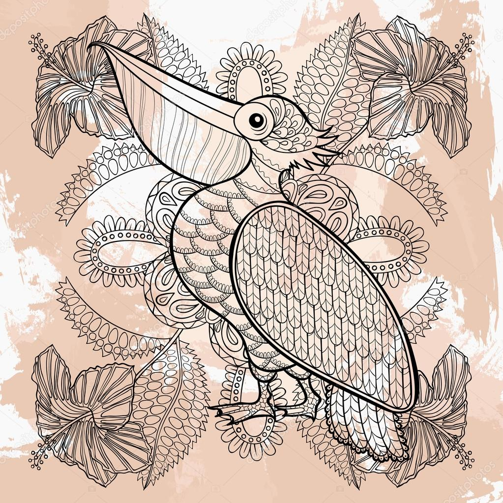Zentangle Vektor Pelikan In Hibiskus Blumen Tattoo Design Orn
