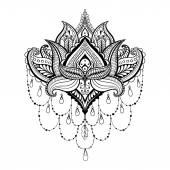 Vektor díszítő Lotus, etnikai zentangled henna tetoválás, minta