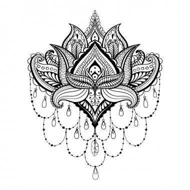 Vector ornamental Lotus, ethnic zentangled henna tattoo, pattern