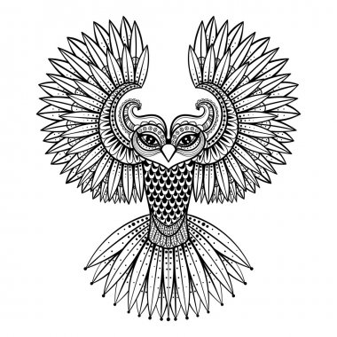 Vector ornamental Owl, ethnic zentangled mascot, amulet, mask of