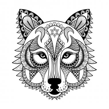 Vector ornamental Wolf, ethnic zentangled mascot, amulet, mask o