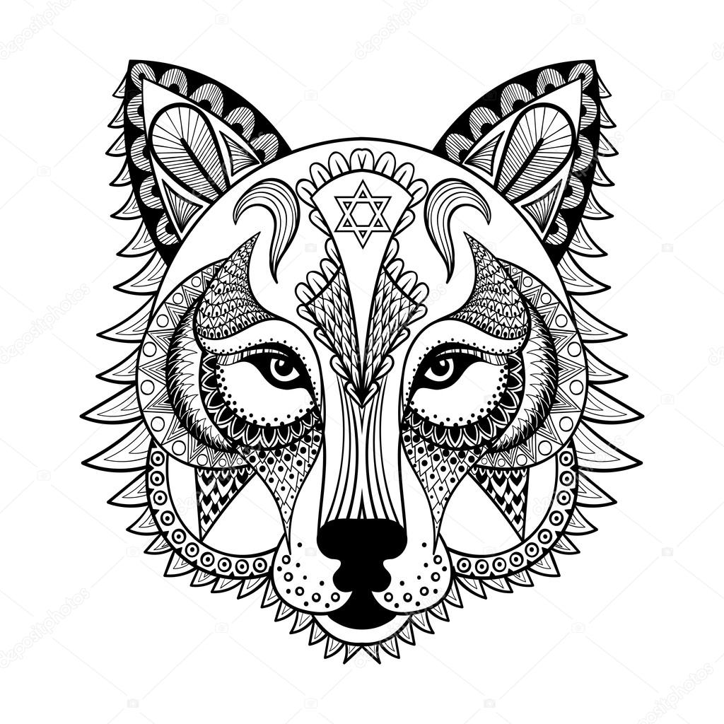Vector Lobo Mandala Vectores Ornamental Lobo Mascota De