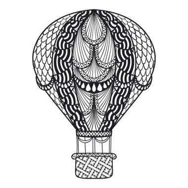 Hand drawn artistically ethnic ornamental patterned air balloon