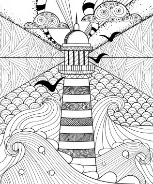 Hand drawn artistically ethnic ornamental patterned Lighthouse w