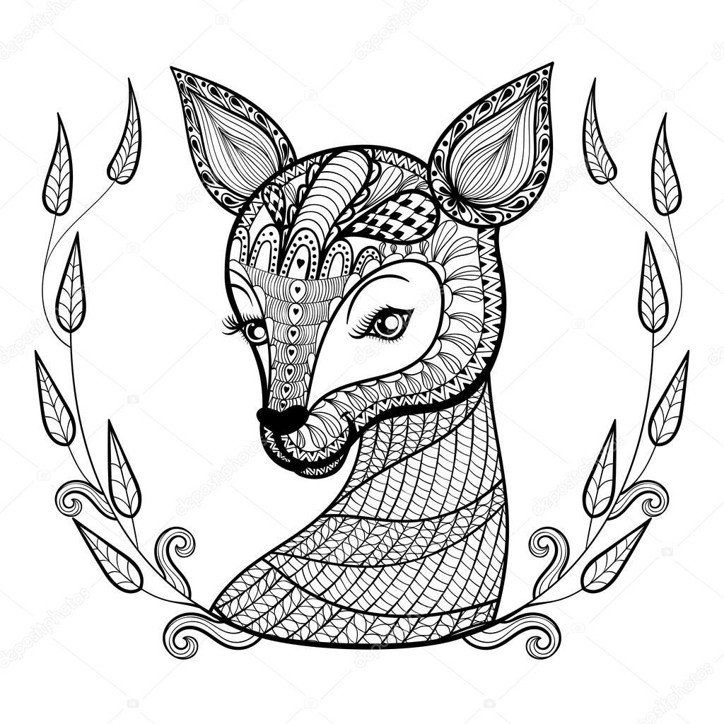 hand gezeichnet ethnischen ornamental nett hirsch gesicht