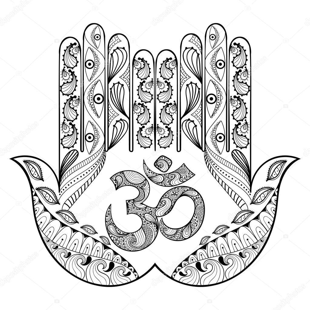Coloring pages henna - Hand Drawn Protection Hamsa Hand For Adult Coloring Pages In Doodle Zentangle Tribal Style Henna Ethnic Ornamental Tattoo With Ohm Sign Indian Religion