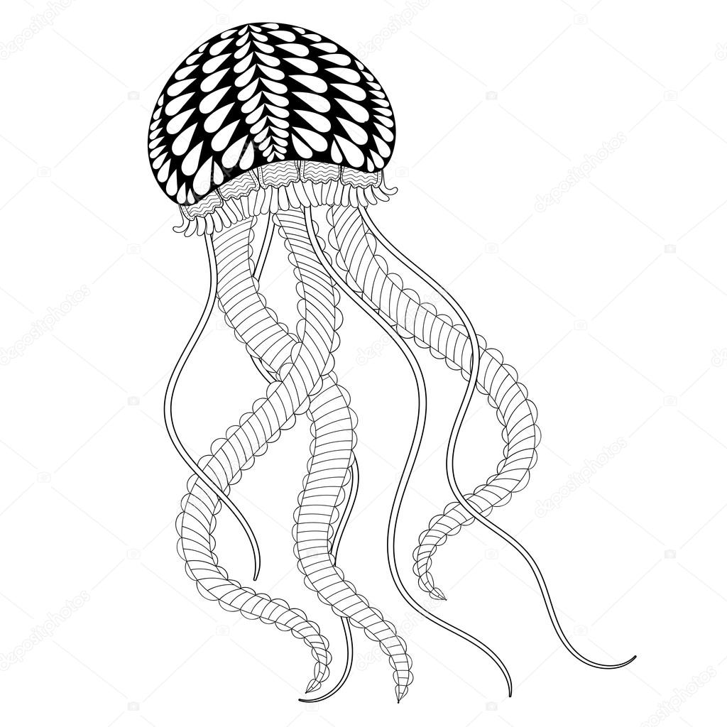 Hand Drawn Sea Jellyfish For Adult Coloring Pages In Doodle