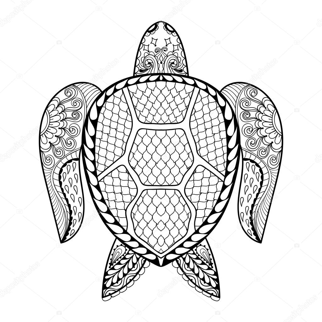 Hand gezeichnet Meeresschildkröte für erwachsene Malvorlagen in ...