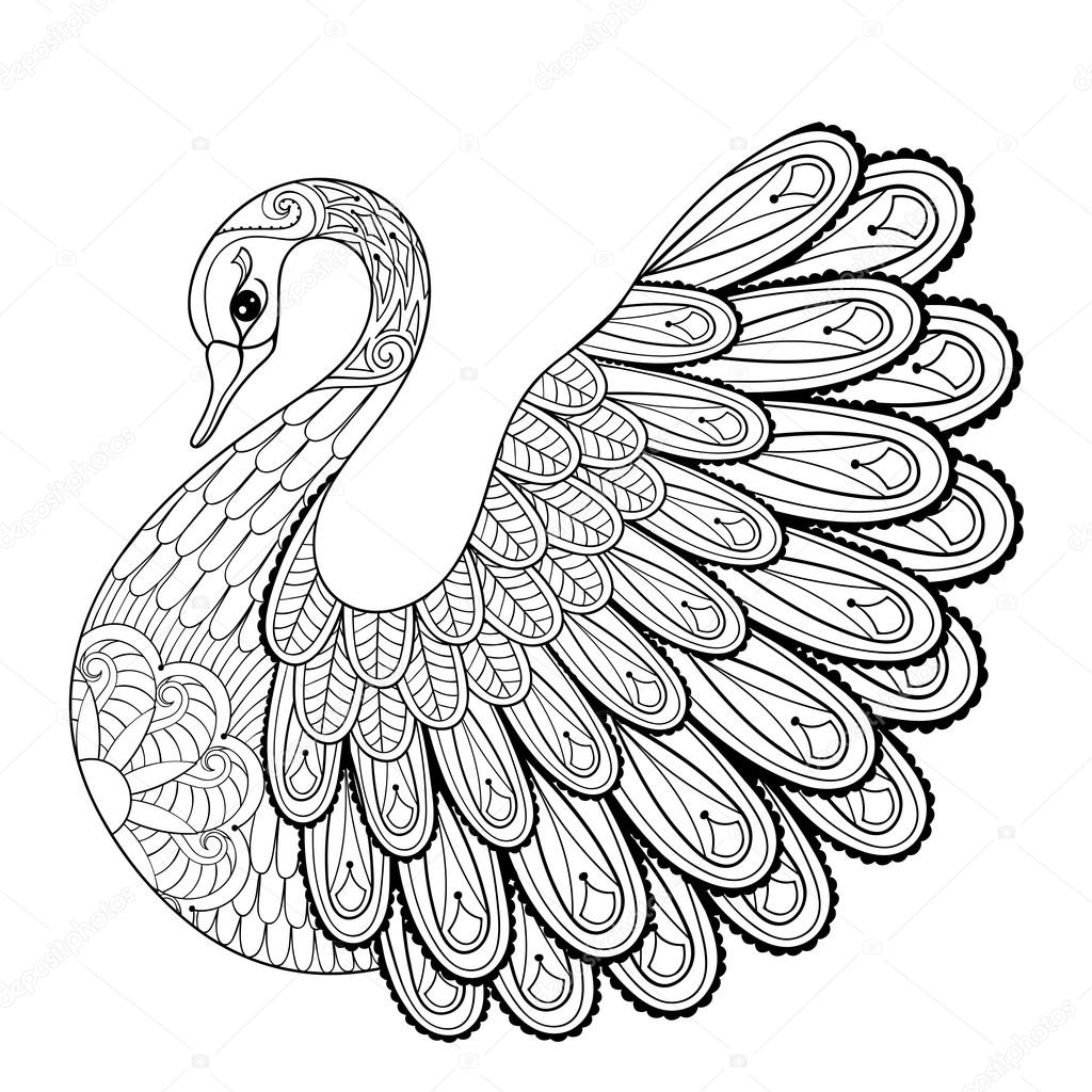 hand drawing artistic swan for coloring pages in doodle z