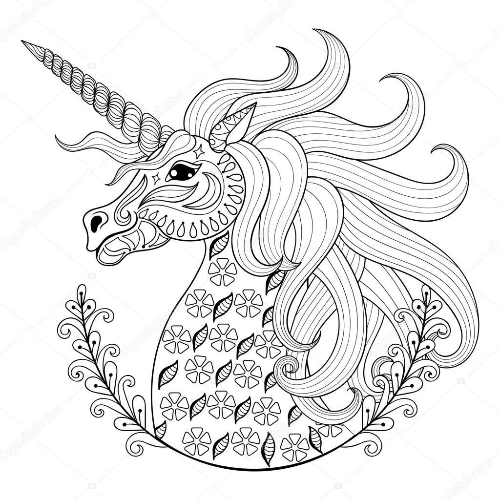 Fairy unicorn coloring pages - Hand Drawing Unicorn For Adult Anti Stress Coloring Pages Artistic Fairy Tale Magic Animal In Zentangle Tribal Style Patterned Illustartion