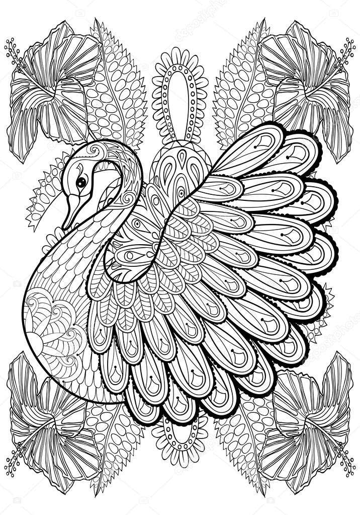 Hand drawing artistic swan in flowers for adult coloring pages a stock vector