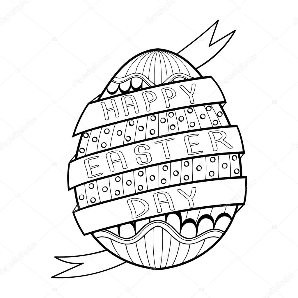 Hand Drawn Artistic Easter Egg For Adult Coloring Page In Doodle Zentangle Tribal Style Happy Day Ethnic Ornamental Patterned Tattoo Design Logo