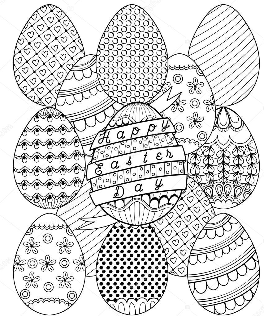 Hand gezeichnet künstlerische Ostereier Muster für erwachsene ...
