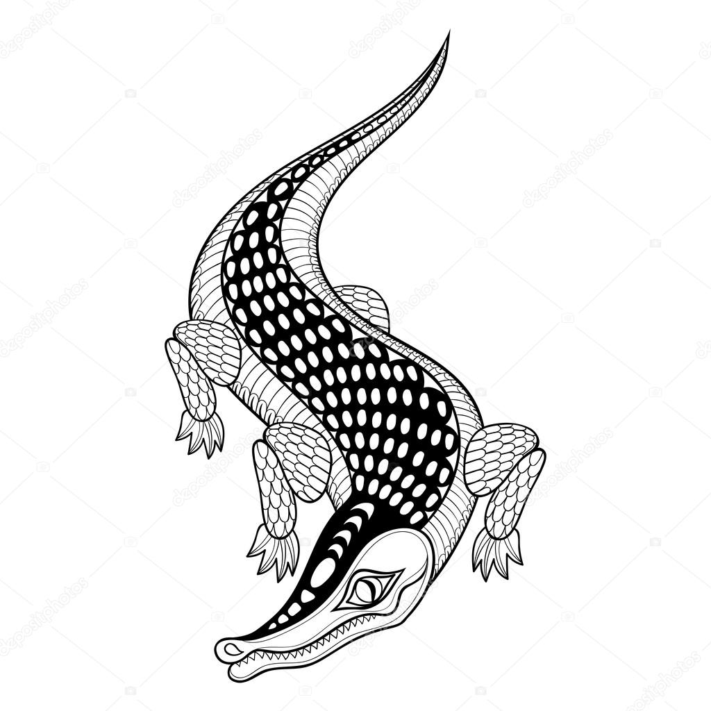 Hand drawn ethnic zentangle Crocodile for adult coloring pages i ...