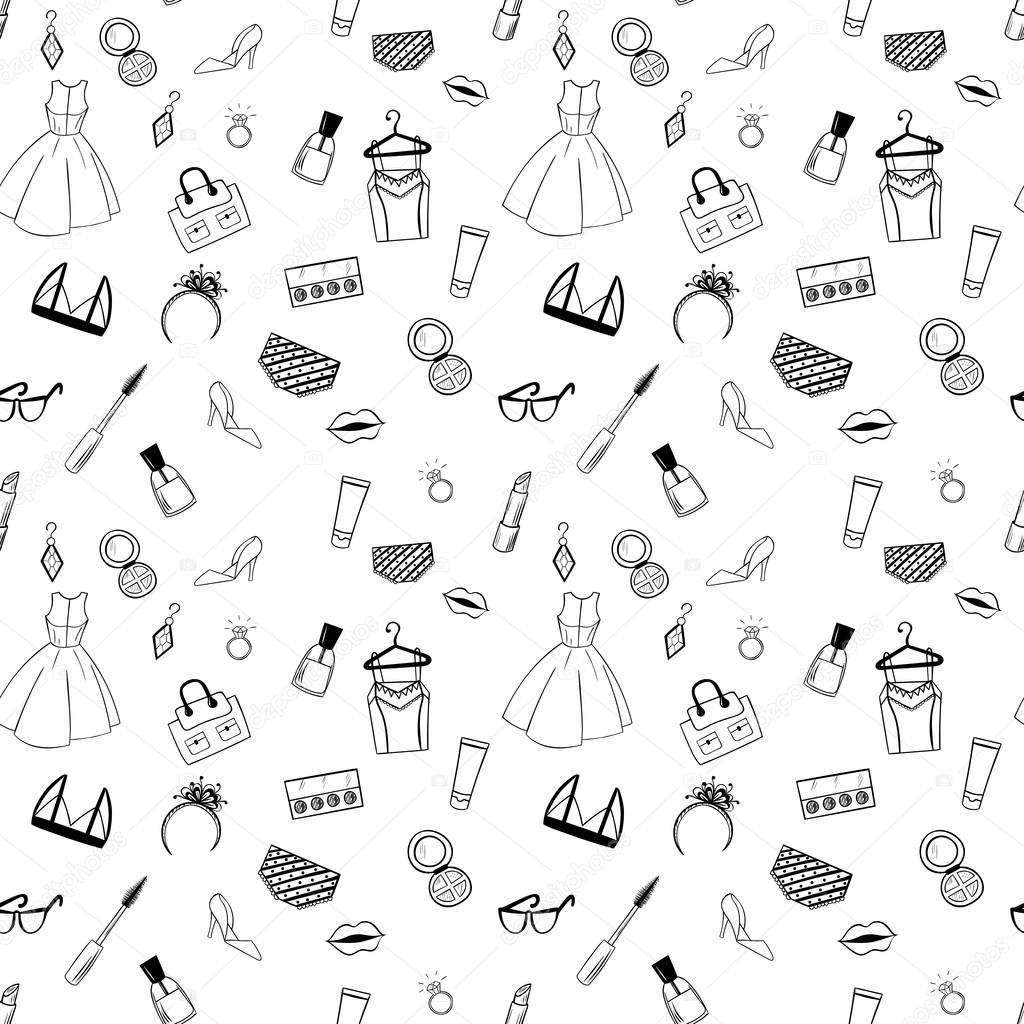 hand drawn fashion seamless pattern for coloring pages in