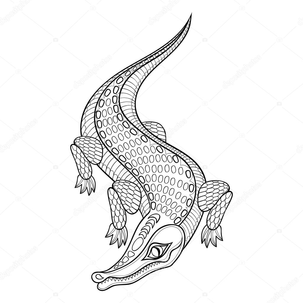 Hand drawn zentangled Crocodile for adult coloring pages in dood ...