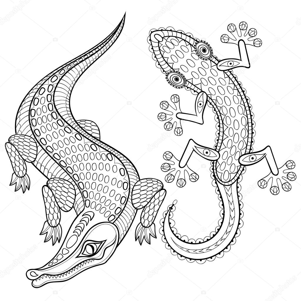 hand drawn zentangled crocodile and lizard for adult coloring pa stock vector 97129338