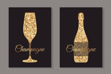 Modern abstract luxury card templates for champagne tasting invitation or bar and restaurant menu or banner or logo with  golden glitter glass and bottle on a black background. icon