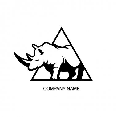 Black and white rhino logo