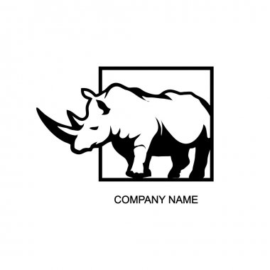 black and white rhino logo