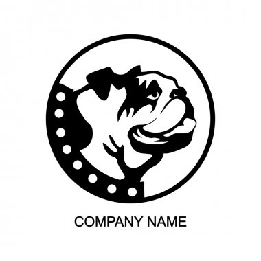 bulldog head logo in circle