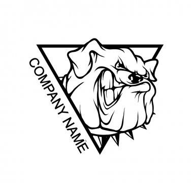 bulldog logo in triangle