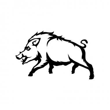 Black and white boar logo