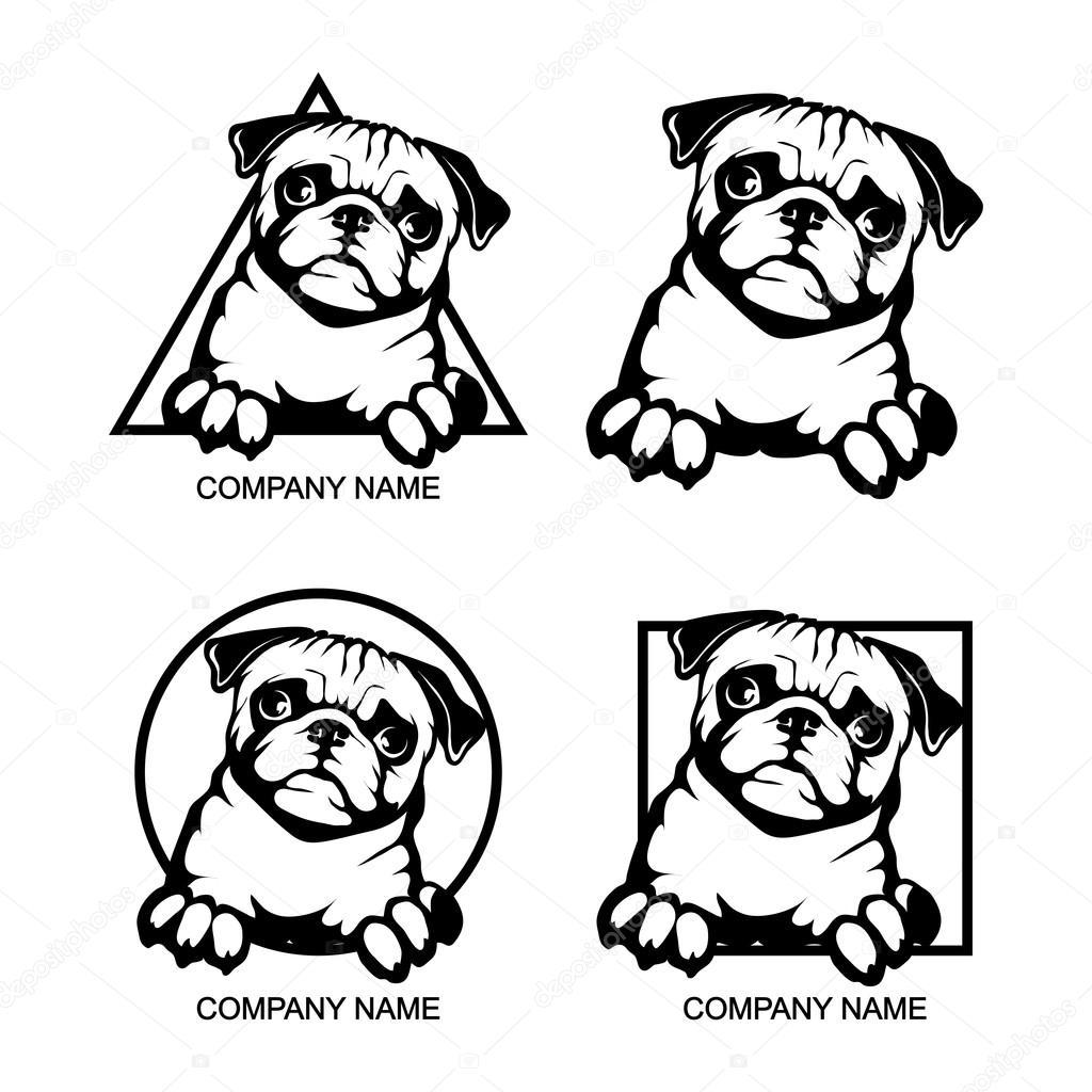 logotipo del perro de Pug — Vector de stock © korniakovstock@gmail ...