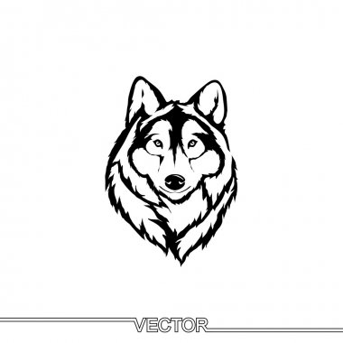 Flat Icon of wolf head.