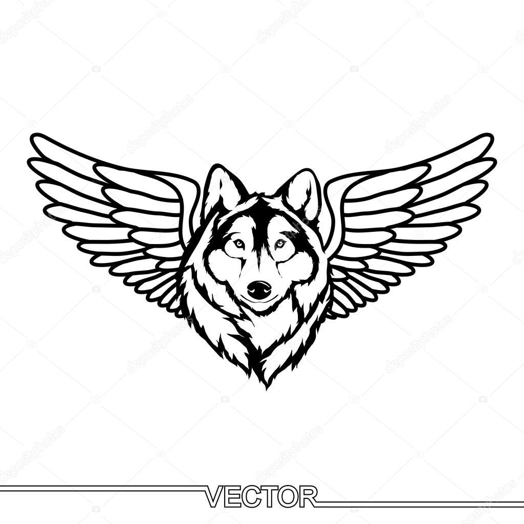 Lobos Con Alas Icono De Cabeza De Lobo Con Alas Vector De Stock