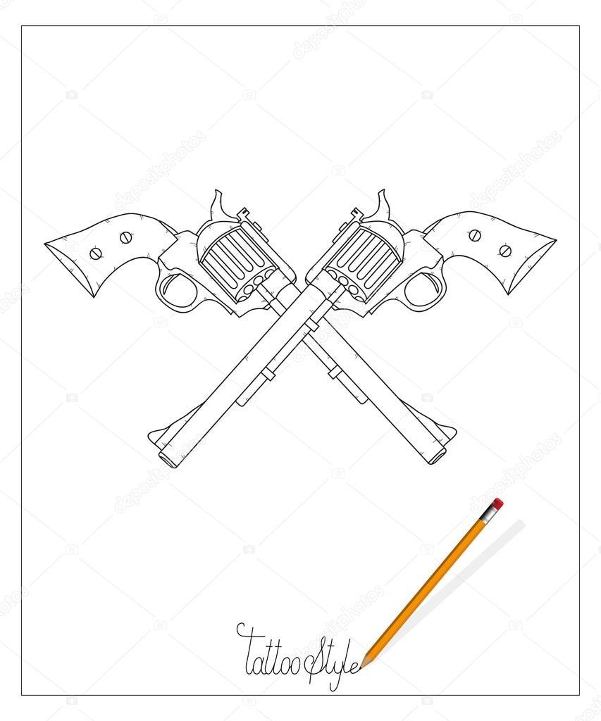 Tattoo Guns Illustration Stock Vector Korniakovstockgmailcom Gun Diagram
