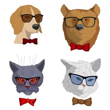 hipsters animals set