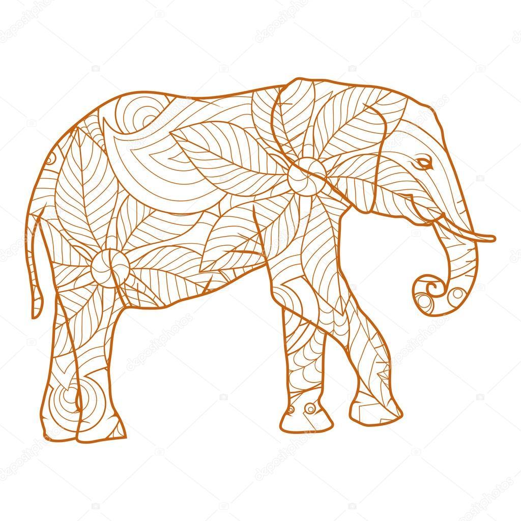 Elefant mit abstrakten Blumen — Stockvektor © korniakovstock@gmail ...