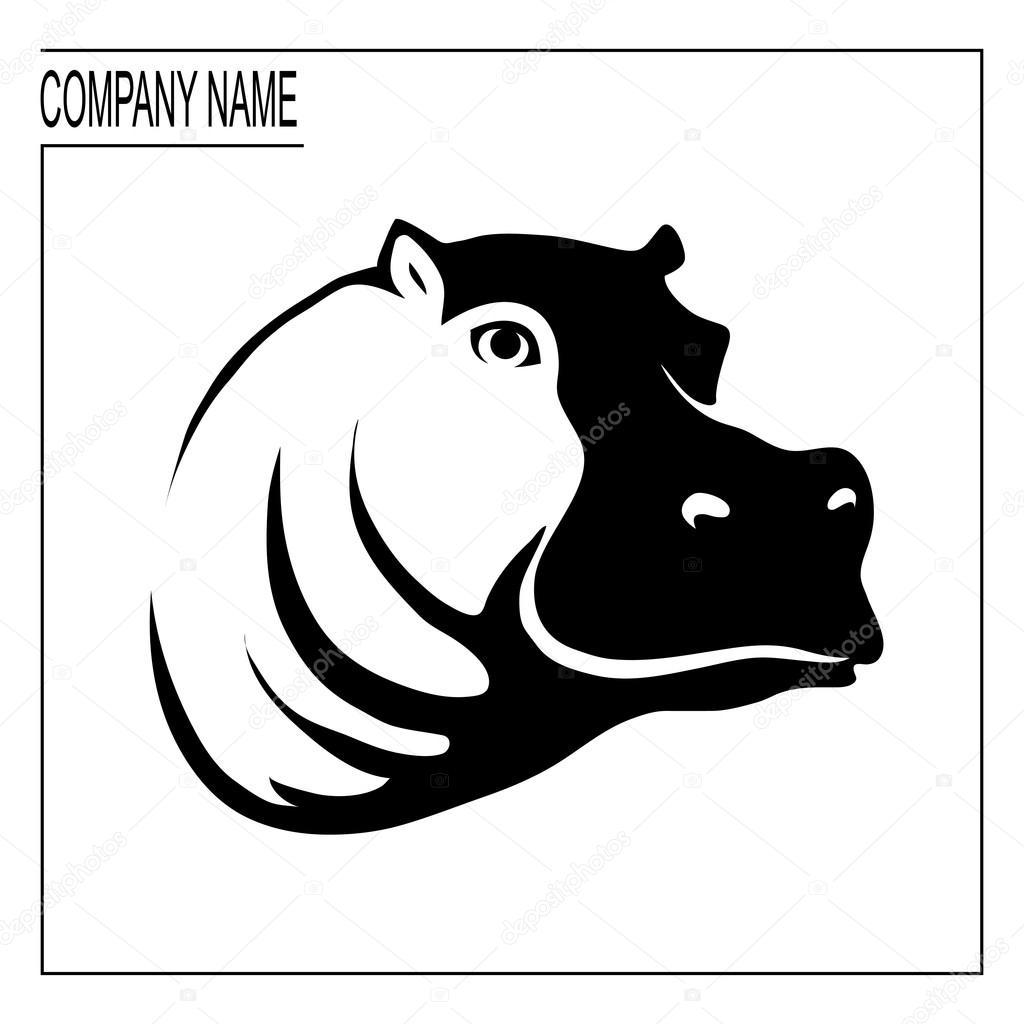 logo de l u0026 39 hippopotame avec place pour le nom de l u0026 39 entreprise  u2014 image vectorielle korniakovstock