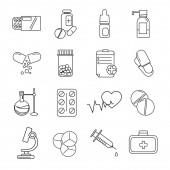 vektor coronavirus ikonok tabletták és gyógyszerek fehér