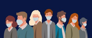 Vector with illustrative adult people in medical masks on blue, coronavirus concept clip art vector