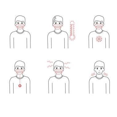 Vector coronavirus with illustrative person wearing medical mask and having symptom on white clip art vector