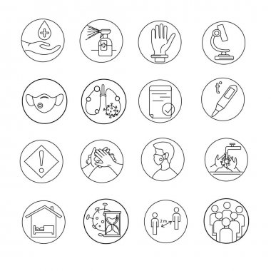 Vector of different coronavirus icons on white stock vector