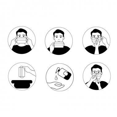 Vector coronavirus icons with illustrative person wearing medical mask and using sanitizer on white clip art vector