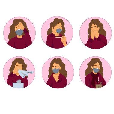 Beyaz üzerinde koronavirüs belirtileri olan illüstrasyonlu bir kadınla vektör koronavirüs simgeleri