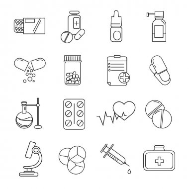 Vector coronavirus icons with pills and medication on white stock vector