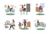 vektor koronavírus rajzolt nő gyakorló jóga, olvasás könyv, dolgozik otthonról, öntözés növény, és pihenés macskával kanapén fehér