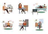 vektor koronavírus rajzolt férfi gyakorló jóga, otthon dolgozik, telefonon beszél, és pihen a kanapén, miközben filmet néz a fehér